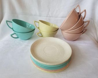 Vintage Melmac Cups and Salad Plates