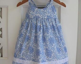 Baby Girls Dress Size 1 Hummingbird Dress / Blue Floral Dress / babies clothing / Summer Dress Baby Dress /  Lace Dress