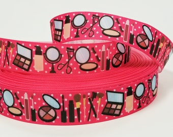 7/8 inch Complements I Don't Need Makeup to be beautiful but it helps white Dots on pink - Make up - Cosmetics Printed Grosgrain Ribbon