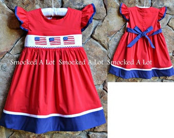 Smocked girls Red American Flag Dress Independence Day 4th of July Red White Blue Sash Flutter sleeves Deployment America