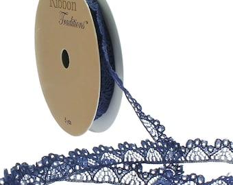 "3/8"" Vintage French Lace Ribbon Trim - Navy - Choose Length"