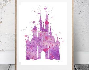 Disney Princess Castle, Cinderella Princess Castle Purple,Cinderella's Princess Castle,Princess Poster,Princess Castle art, Nursery Castle