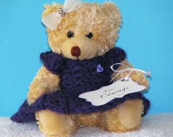 Bear, Handmade, Crochet, Christian, Prayer, Faith, Purple, Ribbon, Bow, Flowers, Encouragement, Love, Hope, Courage, Prayer Bear