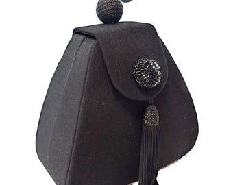 Vintage Black Crepe Evening Bag Black Handbags Black Purses VH-133