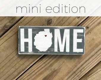 MINI Home with Adirondack Park Silhouette Sign w/ Heart - Adirondack Decor - Cabin Decor - Mountain Decor - Lake Decor - Custom Location