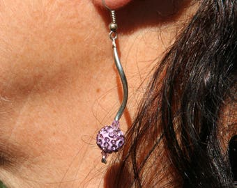 Purple earrings with Rhinestones