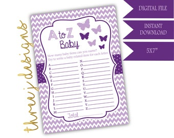 Butterfly Baby Shower A to Z Baby Game - INSTANT DOWNLOAD - Plum and Lavender - Digital File - J004