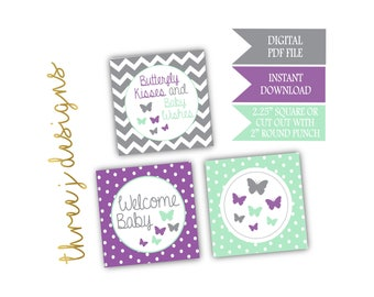 Butterfly Baby Shower Cupcake Toppers - INSTANT DOWNLOAD - Gray, Lavender and Mint - Digital File - J005