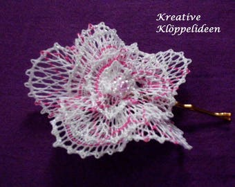 Hair ornaments Handgeklöppelte white flower in pink