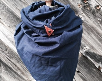 Navy linen scarf with leather detail