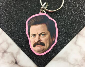 Ron Swanson keychain - parks and recreation keychain - nick offerman keychain - Ron Swanson necklace
