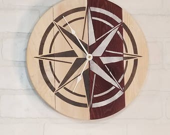 Round Wall Clock - Red and White Nautical