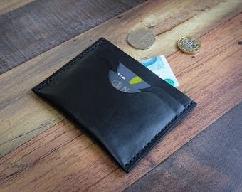 Black Leather Card Holder with Notes Compartment, Leather Card Wallet, Minimalist Card Holder, Handmade Wallet, Leather Card Case