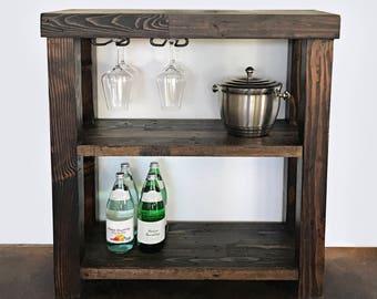 Elegant Reclaimed Wood Bar Cart Server Shelf For Liquor Storage Glassware Stand  With Wine Glass Racks