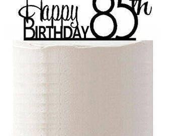 Happy 85th Birthday Agemilestone Elegant Cake Topper