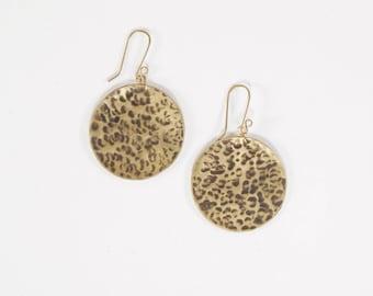 Earrings darkened hammered brass