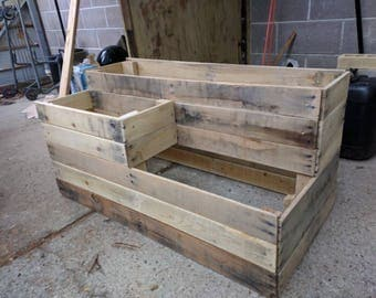 Handmade outdoor 3-Level Ground Planter from reclaimed wood