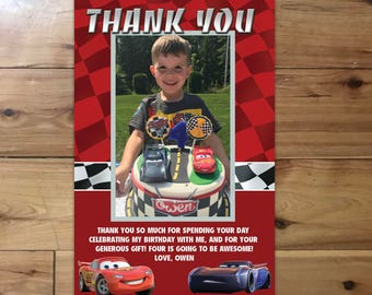 Cars 3 Thank You Card with Photo