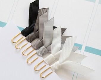 6 small gold planner clips, ribbon clips, paper clips, for planner, agenda, notebook, filofax, midori, bookmark clips black gray