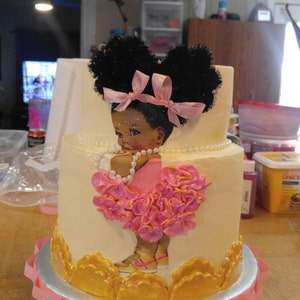 Prince & Princess edible baby shower cake topper afro puffs