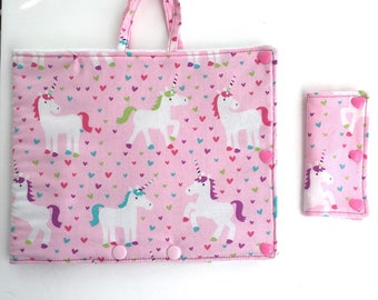 Pink unicorn Insulated Infinity Pump Bag Cover and Port Connection Cover-Insulated Ice Pack Bag-Feeding Tube-Tubie-GTube-Jtube