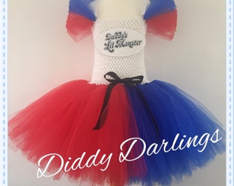Harley Quinn Tutu Dress. Inspired Handmade All Sizes  Halloween Christmas Party Fancy Dress Harley Quinn Costume. Suicide Squad