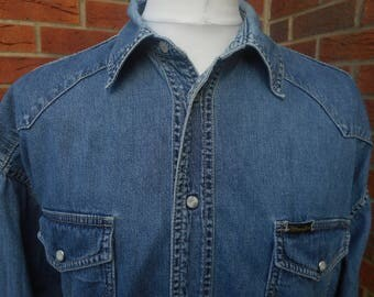 Fantastic Wrangler pearl button denim shirt XXL