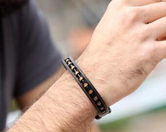 mens leather bracelet, mens jewelry, leather unique bracelet,  handmade, bended bracelet, brown bracelet