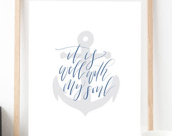 It is well || Hand lettered Print
