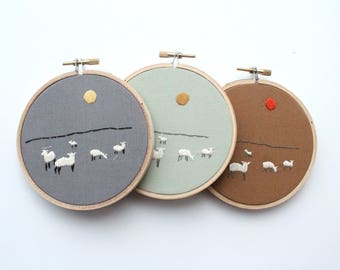 Graze Contemporary Embroidery Hoop Art, 4""