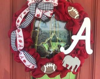 Alabama burlap wreath. Alabama wreath. Bama wreath. Roll tide wreath. Alabama football wreath.