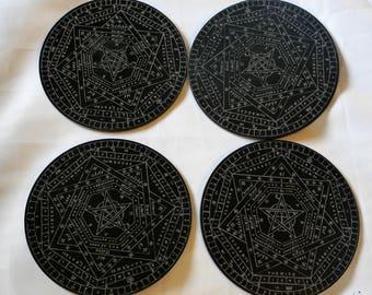 Sigillum Dei Aemeth x4 Set | Sigil Dei | Enochian Magic | Occultism | Golden Dawn | John Dee | Pentacle | Seal of God | Talisman