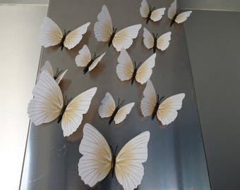 Butterfly 3D creamy white color, magnetic for pretty decor