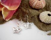 Silver Stars earrings, silver earrings, dangly earrings, silver leverback, sea urchin earrings,gift for her,Quebec jewelry,wedding earrings