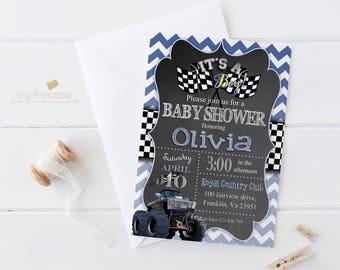 Race Car Baby Shower Invitation / Digital Printable Invite / DIY Party
