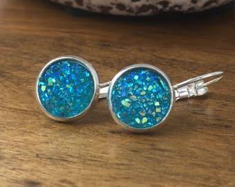 Druzy Earrings - Sparkle Lever Backs - Glitter Earrings - Druzy Lever Backs - Sparkle Earrings - Blue Earrings - Bridal Earrings - Druzy