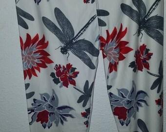 One size leggings, OS, flamingo, dragonfly, elephant, buttery soft.