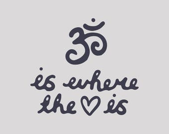 om svg, is where the heart is, yoga word handlettering typography text art, Hand drawn clip art, Commercial Use