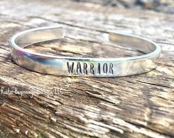 Warrior Cuff, Hand Stamped, Cuff, Bracelet