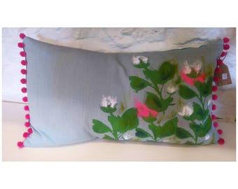 Screen Printed & Hand Painted Bobble Trim Cushion