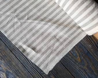 Softened striped linen fabric by the meter, tissu au metre flax fabric with stripes, striped white beige linen fabric by the yard 200GSM