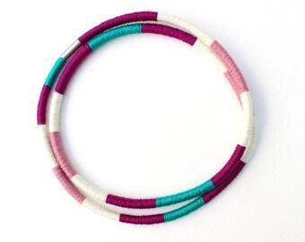 Multicolor Strand Purple Statement Necklace Bracelet Textile knot necklace statement Multistrand Wrap Necklace Bracelet Textile Bracelet