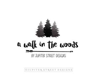 Logo Design-Watercolor Logo-Tree Logo-Photographer Logo-Nature Logo-Forest Logo-FREE font change