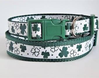 St. Patrick's Day Dog Collar - Shamrock Dog Collar - St. Paddy's Day Dog Collar -  Green Four Leaf Clover Dog Collar