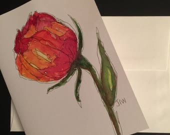 Flower/Handpainted Watercolor Greeting Card