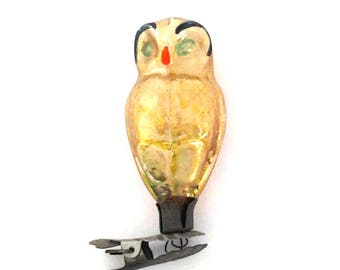 Vintage soviet glass Christmas tree decoration, owl, bird, Xmas ornament, made in USSR, 1950s