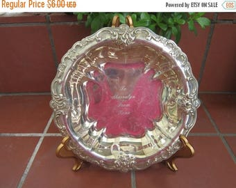 International Silver Dish Vintage 1950's Silverplated Engraved Candy Dish Serving Dining Entertaining Gift Kit0217