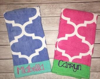 monogrammed beach towels custom design with your name or initials 2 colors - Monogrammed Beach Towels