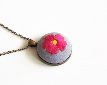 Long necklace with contemporary embroidered bronze pendant gift idea for Women and Girls with pink and gold Flower /Pendant 3x3cm/Chain 35cm