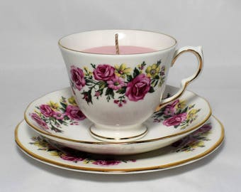 Vintage Tea Cup Candle. Royal Vale Tea Cup, Saucer and Plate Trio. Rose Soy Wax. Fine English Bone China.By Fizzy Fuzzy.